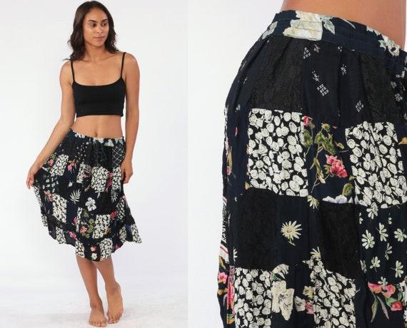 Patchwork Broomstick Skirt Boho Skirt Floral Skirt Gypsy Midi Hippie Floral 90s Bohemian Grunge 1990s Ethnic Vintage Black Medium Large xl