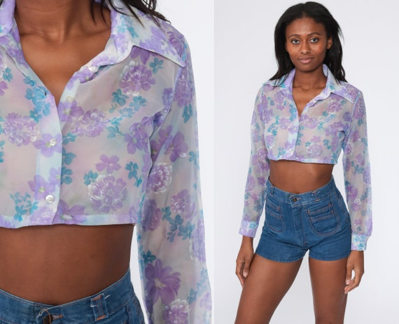 Vintage /'70s Boho Chic Crop Top Vest Dark Floral Print Waistcoat Midriff Top Size Small to Medium