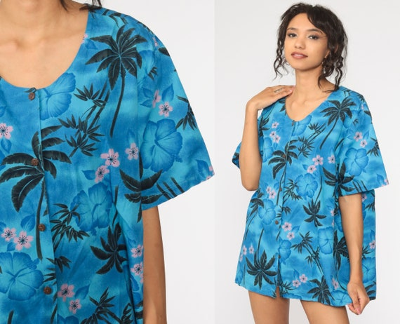Tropical Floral Shirt 90s HAWAIIAN Blouse Blue Button Up Vintage Surfer Vacation Short Sleeve Pink Retro Top 1990s Extra Large xl 2xl