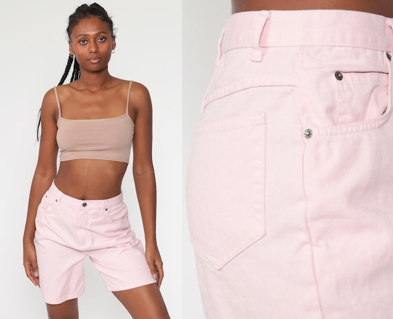 Pink Denim Shorts Baby Pink MOM Shorts High Waisted Jean 80s 90s Jean Shorts Summer 1980s Vintage Small 27