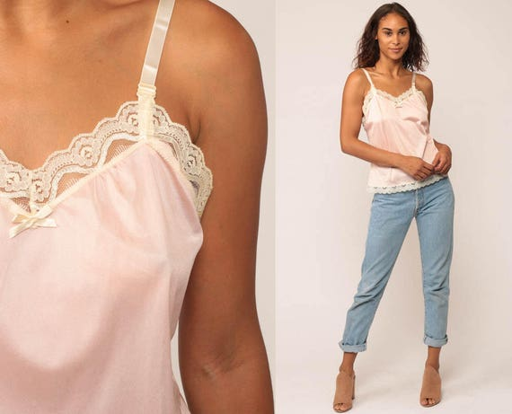 Pink Lingerie Top Lace Camisole Baby Pink Lace Tank Top 80s Cami Top Semi Sheer Pastel Undershirt Boho Romantic Vintage Bohemian Small