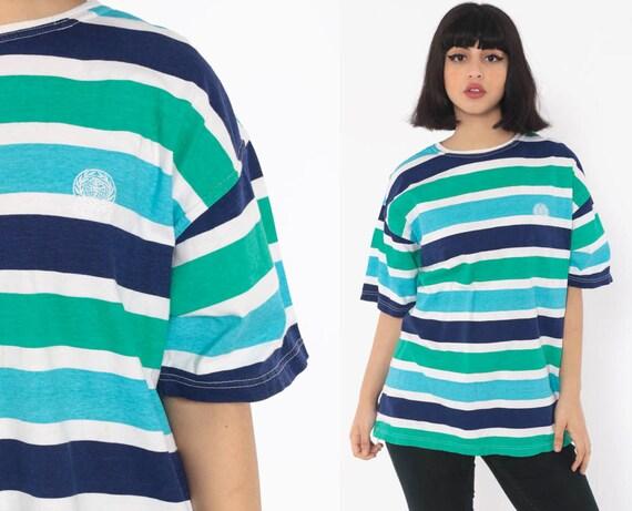 Striped Gitano TShirt 90s T Shirt Blue Tshirt White Surfer Hipster Retro Tee Vintage Short Sleeve Medium