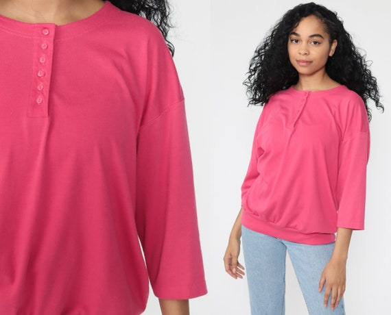 Bright Pink Shirt -- Vintage 80s Button Up Shirt Retro Top 1980s Slouch 3/4 Sleeve Tee Plain Large