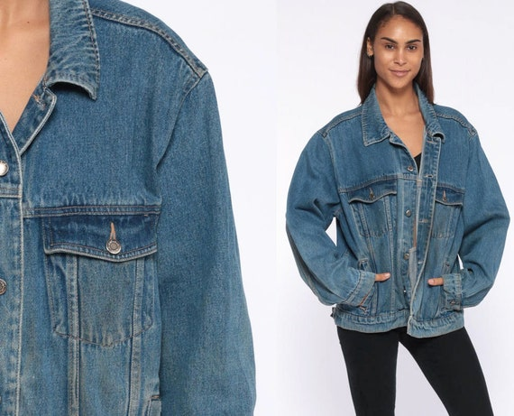 WRANGLER Denim Jacket -- 90s Jean Jacket Coat Distressed 1980s Blue Trucker Jacket Vintage Oversize 90s Retro Grunge Extra Large xl l