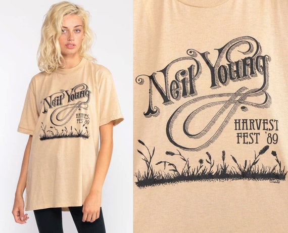 Vintage Neil Young Shirt 1989 Tour Tshirt Jerzees Band T Shirt 80s Harvest Fest Rock Tee Shirt 1980s Concert Tee Medium Large