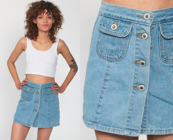 Blue Jean Skort Button Up Culotte Skirt 90s High Waisted Jean Skirt Grunge Vintage Hipster 1990s Short Extra Small xs
