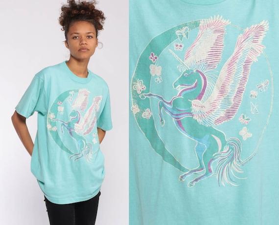 Pegasus Shirt 80s Unicorn Tshirt RAINBOW T Shirt Moon Graphic Blue Pastel Fairy Kei Shirt Retro Tee Kawaii Animal Tee 1980s Vintage Medium
