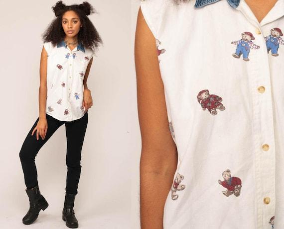 Teddy Bear Shirt Denim Collar Blouse 90s Button Down up Jean Grunge White Top 1990s Vintage Sleeveless Retro Large