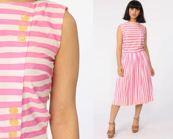 Pink Striped Dress 60s Pleated Dress High Waisted Midi 70s Button Up Party Mod Pin Up 1970s Vintage Sleeveless Tea Length White Small
