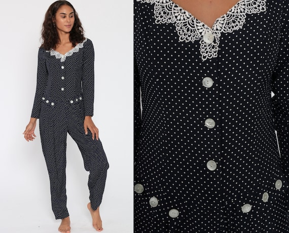 90s POLKA DOT Jumpsuit Navy Blue Jumpsuit Lace Pantsuit Vintage Tapered Romper Pants 1990s Grunge Long Sleeve Button Up Vintage Retro Small