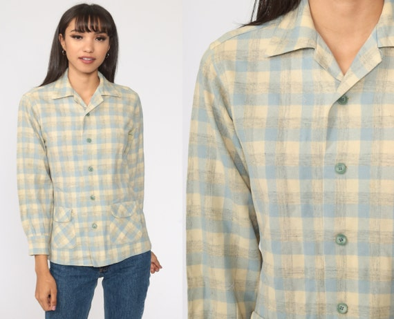 PENDLETON Shirt Wool Plaid Shirt 70s Flannel Plaid Grunge Button Up Long Sleeve 1970s Vintage Lumberjack Yellow Blue