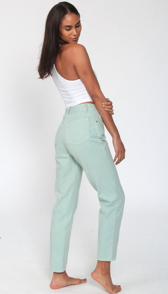Mint Pastel Jeans XS -- Tapered Leg 90s Jeans Mom… - image 3
