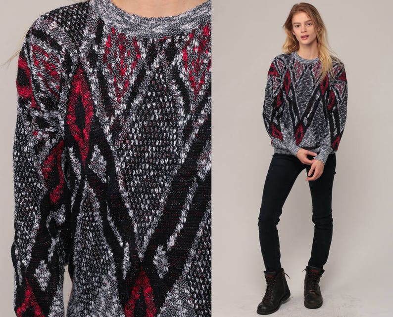 a96a323a0c175a Boho Sweater Geometric Sweater 80s Striped Knit Jumper Grey