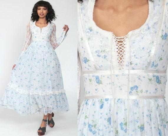 White Floral Dress 70s Maxi Prairie Lace Boho Sheer Sleeve 1970s Bohemian Wedding Long Festival Lace Up Vintage Romantic Extra Small xxs 2xs