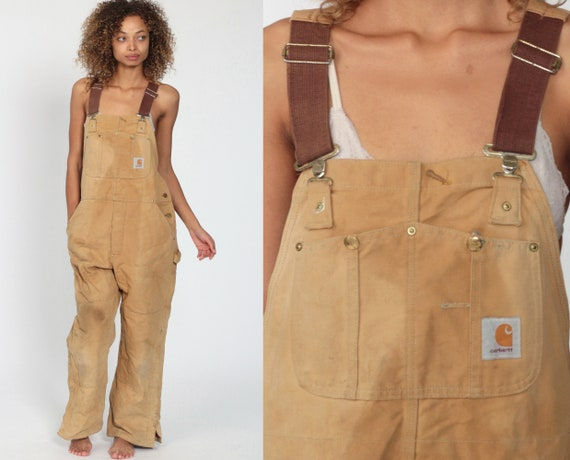 Insulated Carhartt Overalls Workwear Coveralls Pants QUILTED Dungarees Light Brown Suspender Pants Long Work Wear Bib Vintage Medium Large