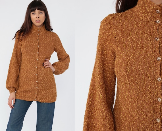 Bohemian Cardigan Sweater 70s BALLOON SLEEVE Sweater Brown 80s Vintage Hippie Chunky Long Flecked Knit Button Up 1970s Small Medium