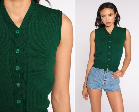 Wool Sweater Vest Top 80s Green Knit Tank Top Button up Cropped Vest Sleeveless Nerd Knit 1980s Normcore Sleeveless Vintage Extra Small xs