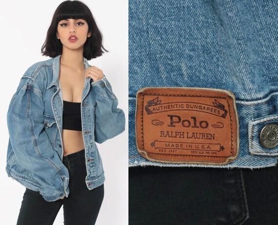 Ralph Lauren Jean Jacket 90s Denim Jacket Grunge Biker Blue Stone Wash Oversize 1990s Vintage Button Up Medium Large