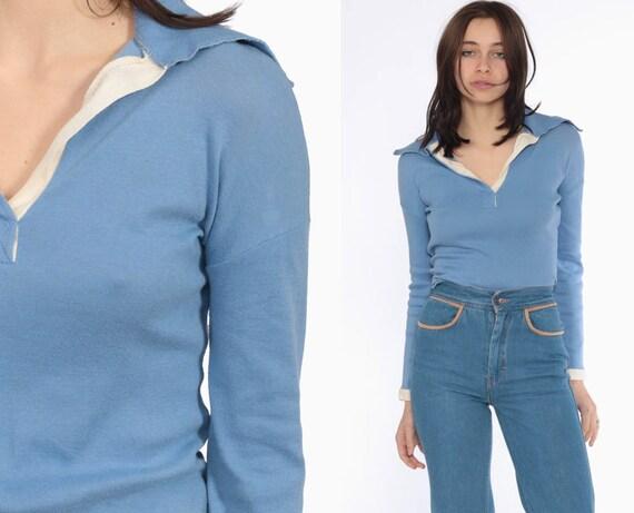 70s Shirt Polo Long Sleeve --  1970s Shirt BABY BLUE Long Sleeve T Shirt Collared Tshirt 80s Half Button Up Nerd Geek Retro Vintage Large