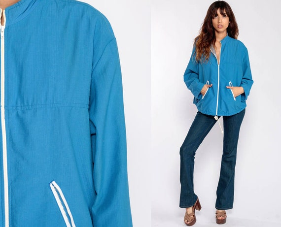 Blue Windbreaker Jacket 70s Jacket Zip Up 80s Jacket Plain Retro Jacket Hipster Nylon Vintage 1980s Large