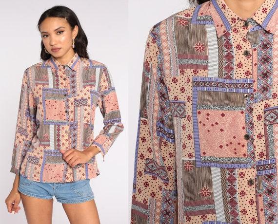 Y2K Patchwork Blouse Geometric Shirt Peach Pink Button Up Shirt Long Sleeve Bohemian Blouse 00s Paisley Medium