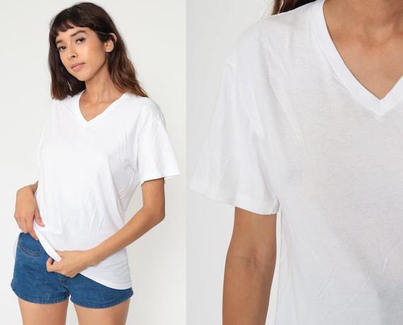 White TShirt 80s Tee Shirt Plain Tshirt Vintage V Neck Tee 90s Grunge Soft Sheer T Shirt Normcore Small Medium