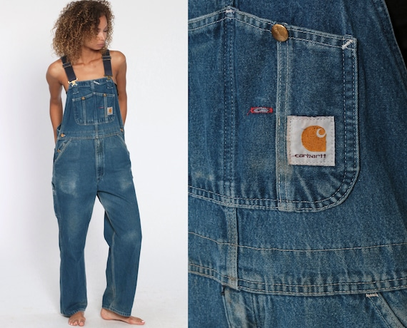 Denim Carhartt Overalls 90s Bib Jean Overalls Pants Dungarees GRUNGE Suspender Blue Bib Baggy Long Vintage Coveralls Workwear Small Medium