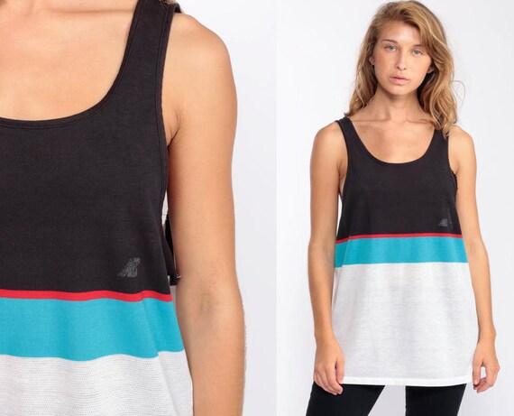 New Balance Shirt Striped Tank Top 90s Shirt Paper Thin BURNOUT Shirt Black White Sleeveless Retro Streetwear Vintage Medium