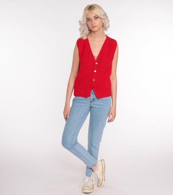 Crochet Vest Red Knit Top 70s Hippie Boho Vest Op… - image 5