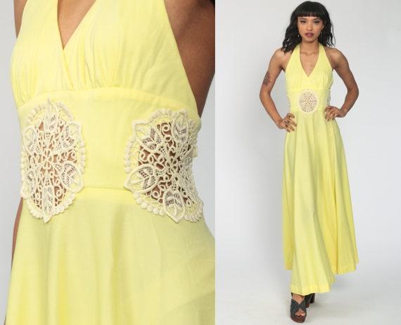 Bohemian Dress 70s Maxi Crochet LACE Cut Out Dress