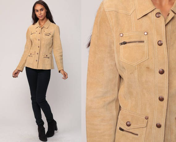 Tan Suede Jacket Leather Jacket Bohemian Coat Boho Hippie Collared 90s Vintage Hipster Fitted Medium