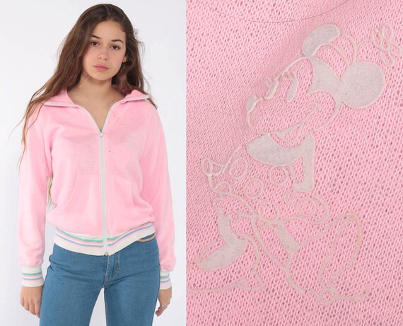 Mickey Mouse Sweatshirt Pink Retro Track Jacket Zip Up Sweatshirt 80s Jacket Walt Disney Kawaii Retro Vintage Tracksuit Top Extra Small xs