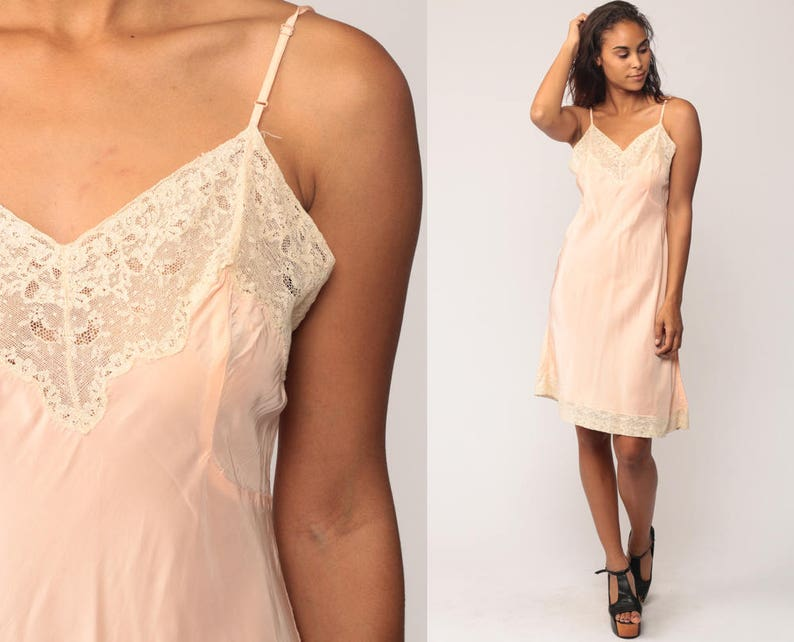 f1ffcd4cced12 Pink Slip Dress 50s Lingerie Nightgown Midi Lace Sheer   Etsy