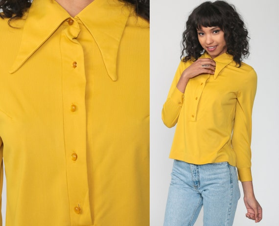 Yellow Long Sleeve Shirt 70s Shirt POLO Half Button Up 1970s Plain Shirt Vintage Hipster Disco Seventies Collared Small