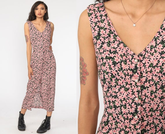 90s Floral Dress Pink Grunge Maxi Sundress Button Up Boho Print 1990s Bohemian Vintage Sheath Sleeveless Small 4