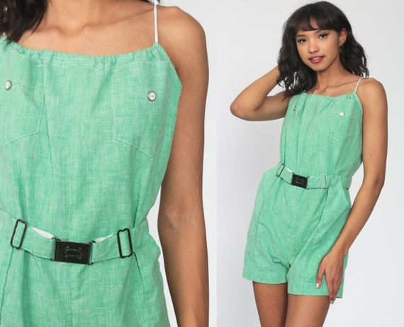 Green Romper 70s Onesie Shorts Summer Playsuit High Waisted 1970s One Piece Mod Belted Vintage Sleeveless Spaghetti Strap Small Medium