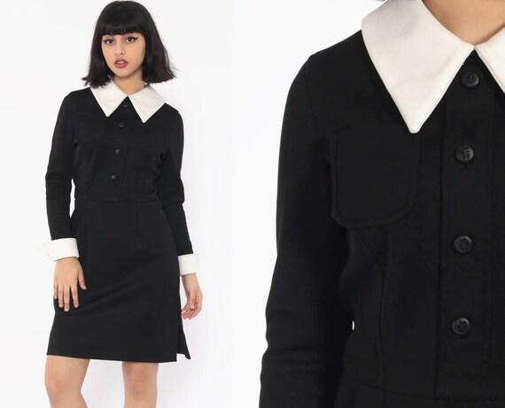 Gothic Lolita Dress Peter Pan Collar 60s Mini Wednesday Addams Goth Black White Long Sleeve Mod 70s Vintage School Girl Small