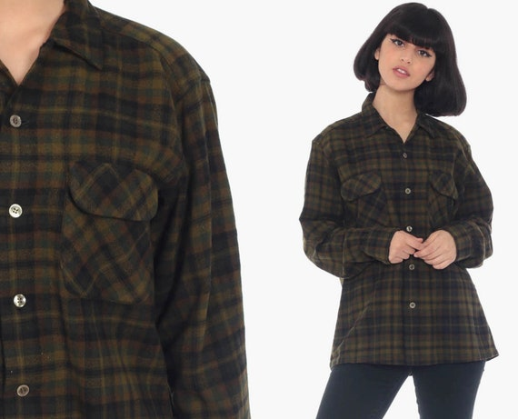 Wool Plaid Shirt Olive Green Flannel Shirt Plaid 80s Long Sleeve Buffalo Plaid Button Up 1980s Vintage Lumberjack Retro Medium