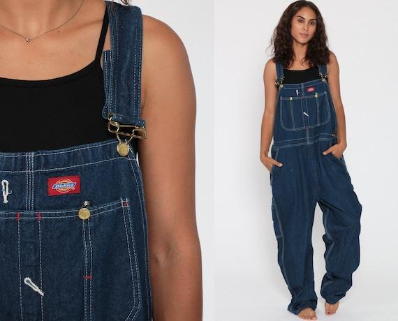 DICKIES Overalls 90s Denim Bib Overalls Distressed Baggy Dungarees Dark Blue Long Jean Pants Grunge Pants Suspender Work Wear Extra Large XL