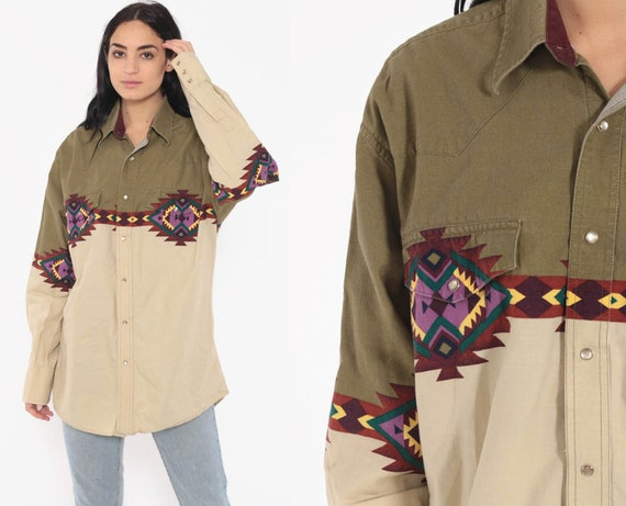 Southwestern Shirt PEARL SNAP Western 90s Button Up Wrangler Olive Green Tribal AZTEC Top Cowboy 80s Vintage Long Sleeve Extra Large xl l