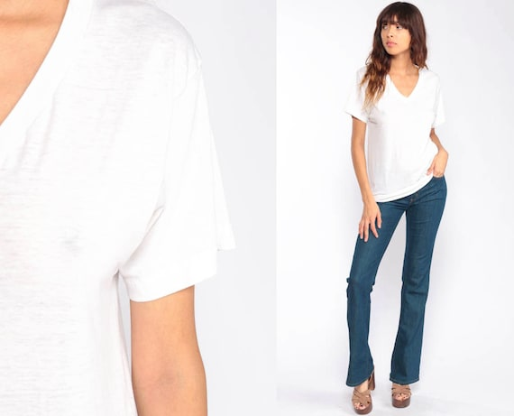 White Shirt Burnout Tee Shirt Plain Tshirt Vintage Sheer Shirt V Neck Tee 90s Grunge Soft Sheer T Shirt Paper Thin Normcore Small