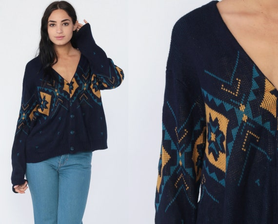 Southwestern Sweater Aztec Cardigan Tribal Boho 80s Knit Sweater Navy Blue 1980s Vintage Hippie Bohemian Button Up Slouch Medium