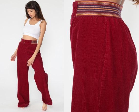 Corduroy BELL BOTTOM Pants 70s Wrangler Hippie Red High Waisted Trousers Boho Wide Leg 1970s High Waist Vintage Bohemian Tall Medium Large