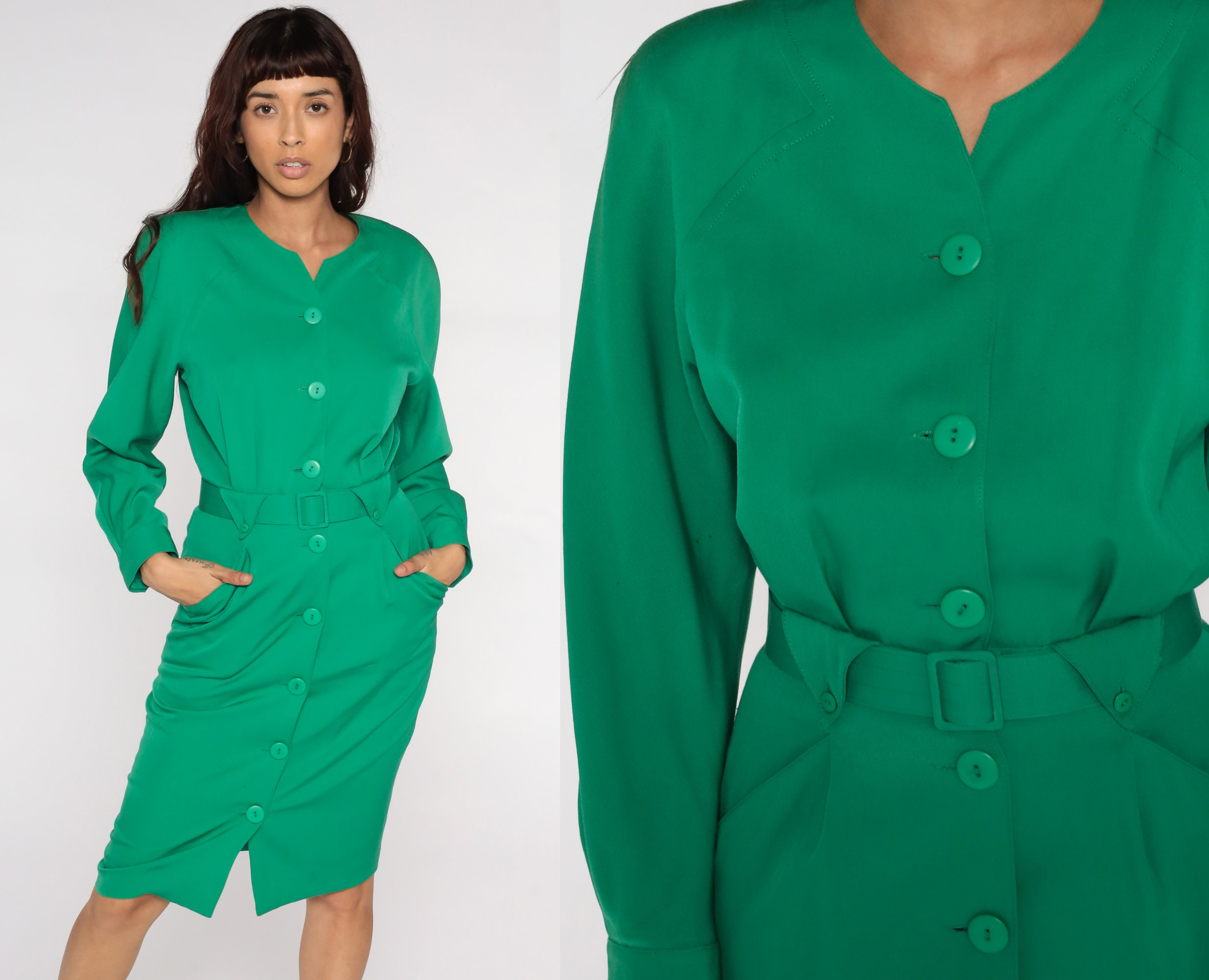 80s Dresses | Casual to Party Dresses Green Wool Dress Shirt Midi 80S Long Sleeve Secretary Shirtdress Pencil Wiggle Button Up High Waisted 1980S Vintage Plain Small S $49.00 AT vintagedancer.com