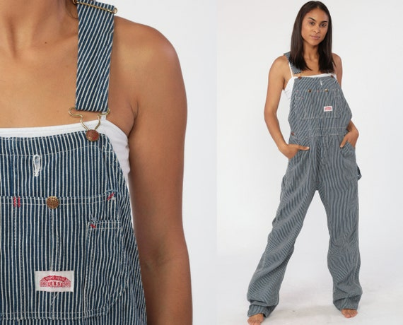 Striped Denim Overalls 80s Bib Overalls Jean Conductor Overalls Workwear Round House Dungarees Long Pants Vintage Oversized Small Tall
