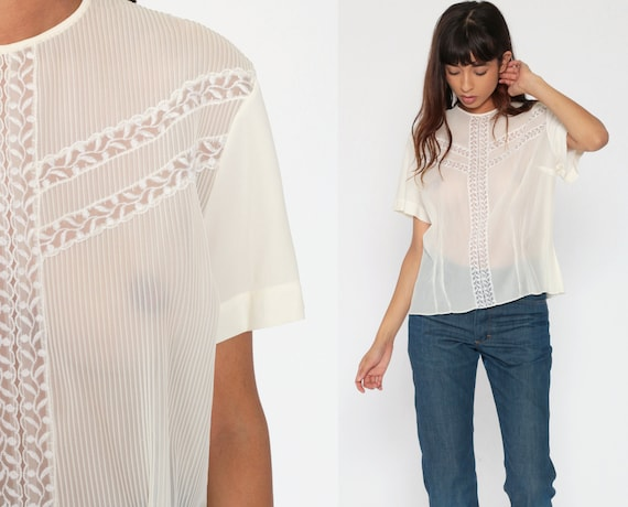 60s Sheer Top Off-White Lace Pintuck Shirt Party Bohemian Cocktail Shirt 1960s Button Back Vintage Short Sleeve Large