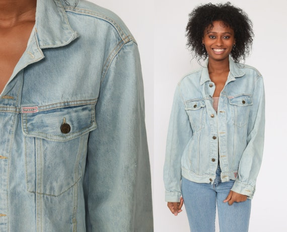 GUESS Jean Jacket 80s Denim Jacket Vintage Georges Marciano Jacket Oversized Trucker Light Blue Button Up 90s Coat Extra Large xl