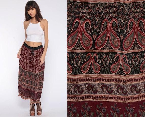 Boho Gypsy Skirt Broomstick Skirt Midi Hippie Paisley Indian 90s Bohemian India Gypsy High Waist Ethnic Hippy Burgundy Extra Small xs s