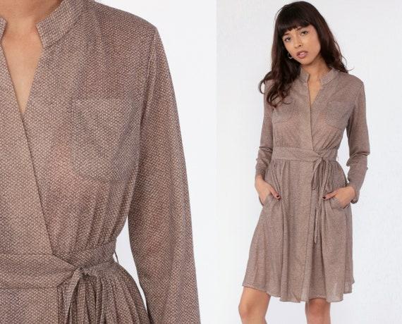 70s Wrap Dress Brown Secretary Dress Mini High Waisted Semi-Sheer Long Sleeve Vintage Pocket Dress Mad Men 1970s Small