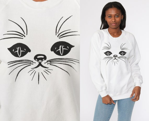 Cat Sweatshirt Jerzees Crewneck 80s Animal Raglan